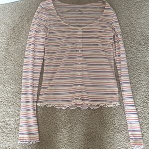 long sleeve multi-colored stripe shirt